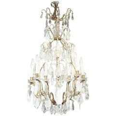 Louis XV Style Twelve-Light Rock Crystal-Draped Chandelier