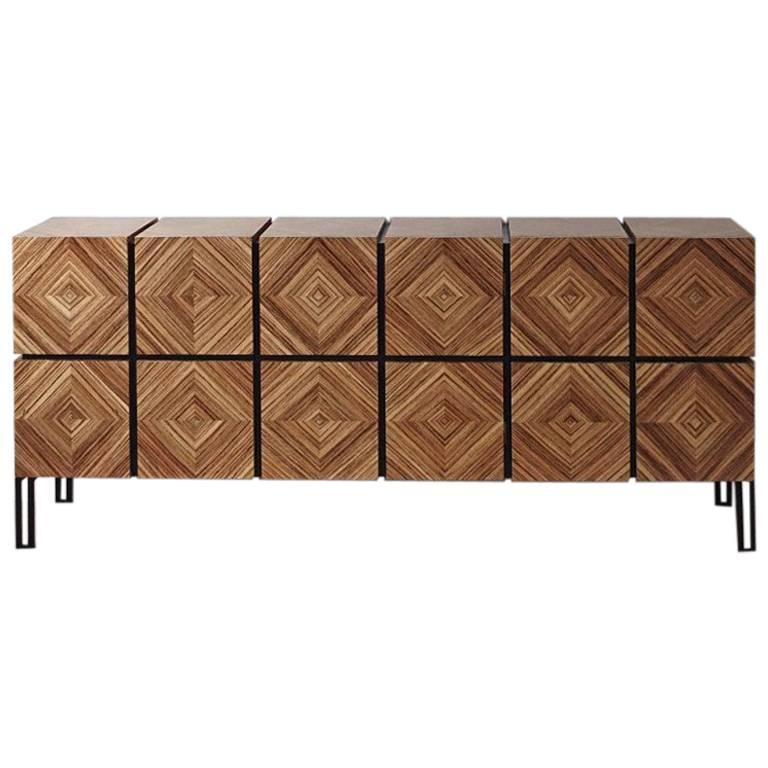 """Buffet """"Losange"""" Three Doors in Zebrano and Black Metal Legs For Sale"""