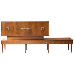 Custom Made Walnut Sideboard or Credenza with Brass Hardware, circa 1940s