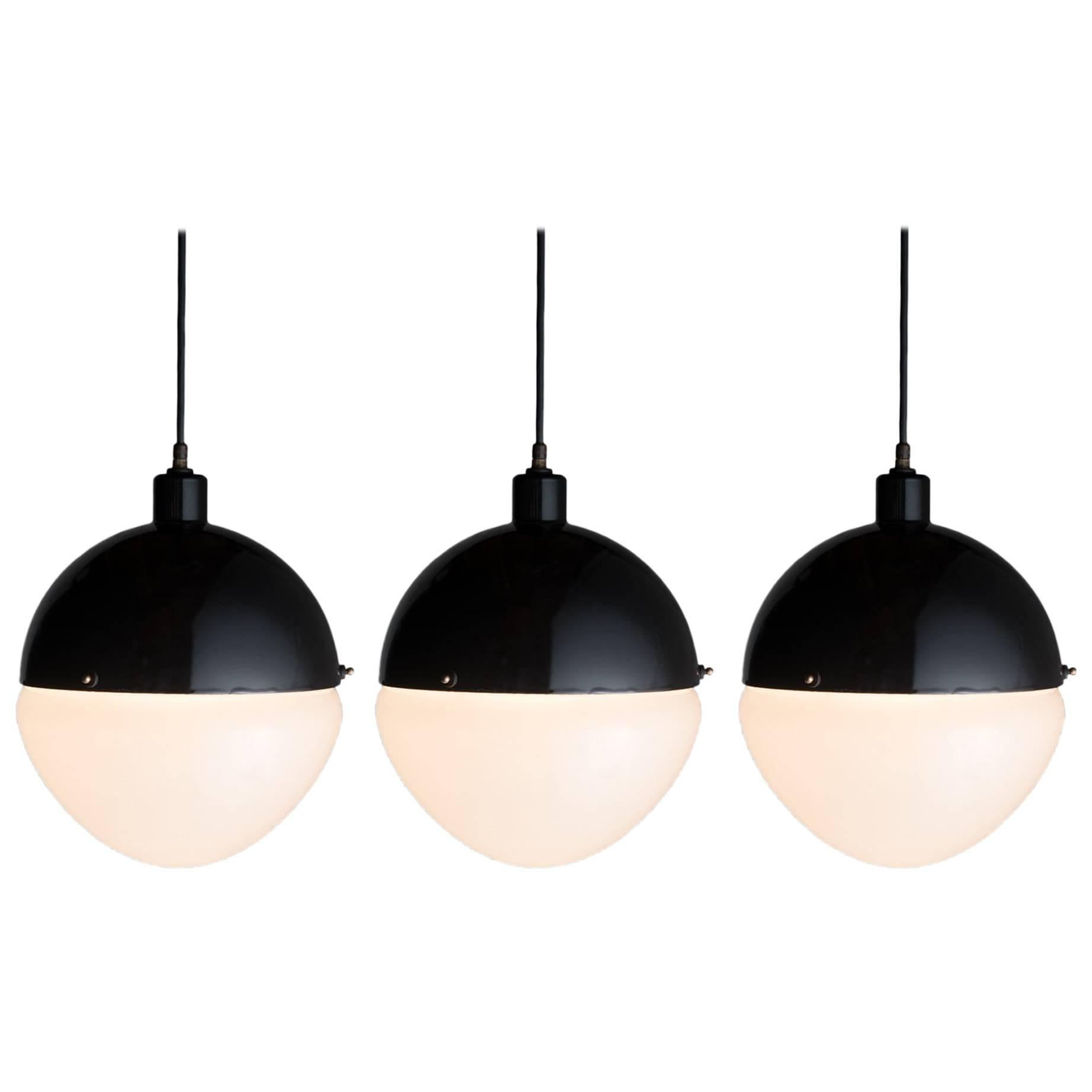 Large Black Metal and Frosted Glass Globe Pendant, Italy, 21st Century