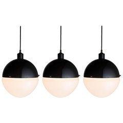 Large Black Metal and Frosted Glass Globe Pendant, 21st Century