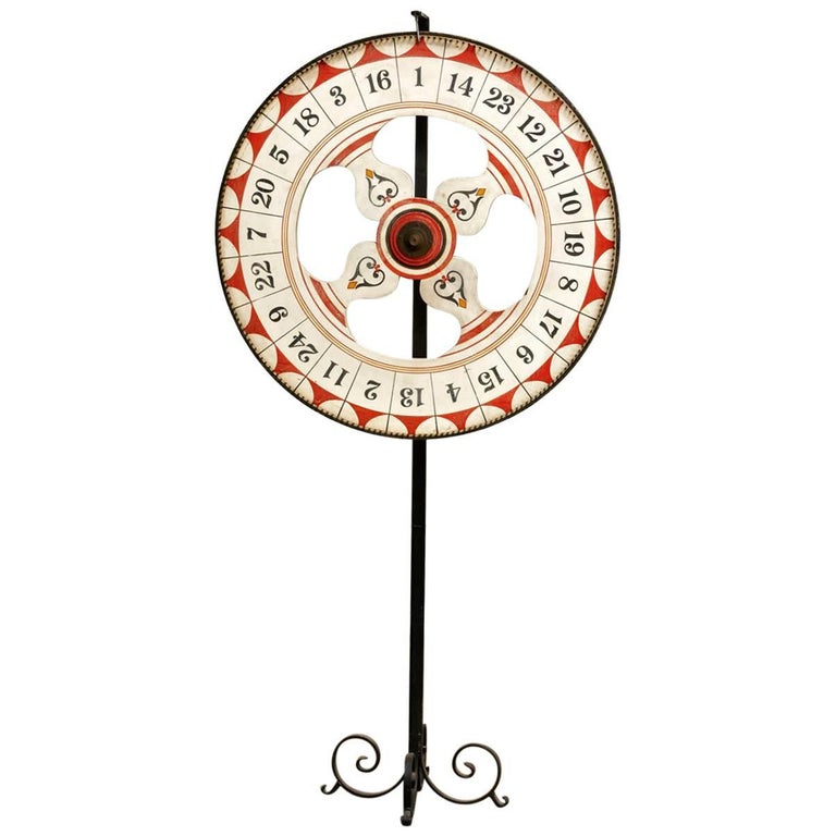 Folk Art Standing Carnival Game Wheel from Santa Monica Pier
