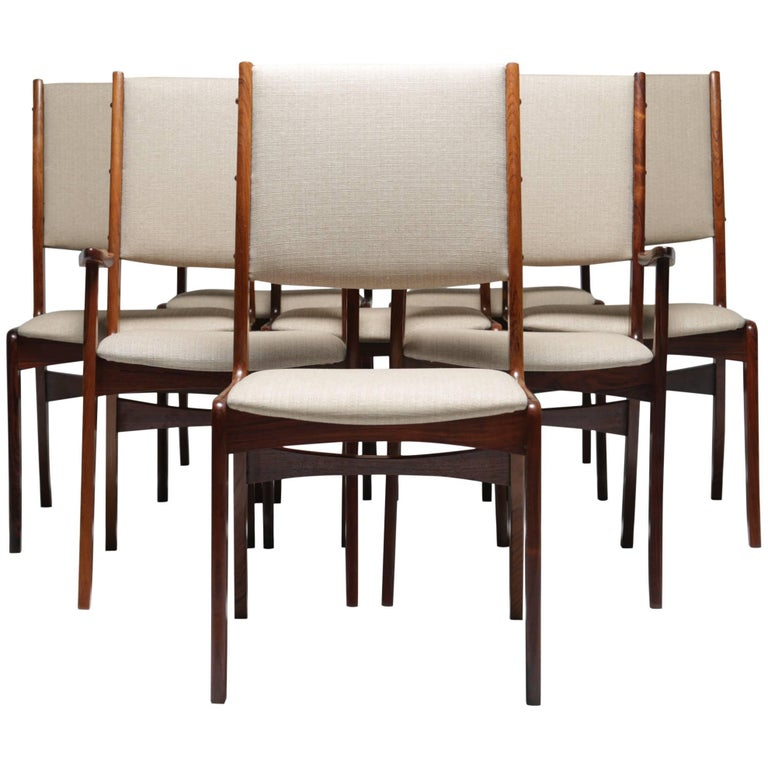 Midcentury Set Of Eight Rosewood Dining Chairs By Johannes Andersen For