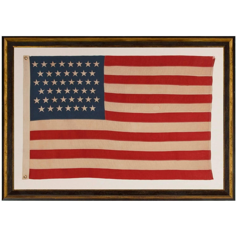 45 Stars on a Attractive Denim Blue Canton, Cotton Bunting American Flag For Sale