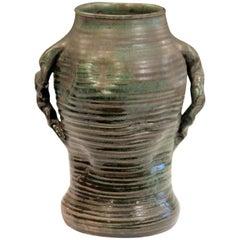Japanese Style Vintage Studio Pottery Arts & Crafts Vase Ribs Crystalline