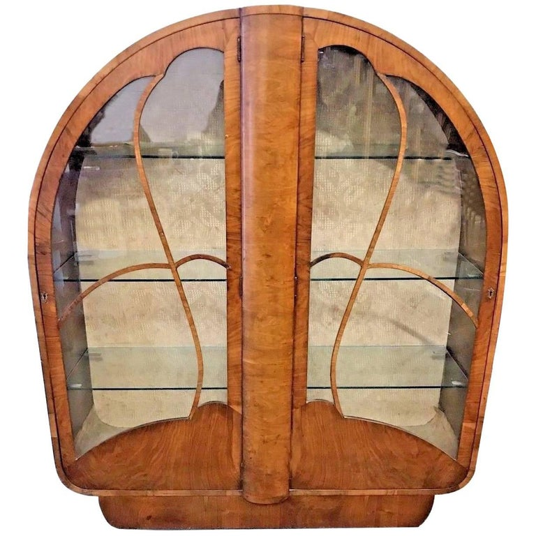 English 1930s Art Deco Display Cabinet in Walnut