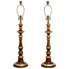Pair of Parcel-Gilt Wood Candlestick Table Lamps by Bradburn