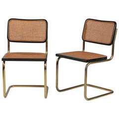Pair of Gold and Cane Cesca Chairs by Marcel Breuer, 1928