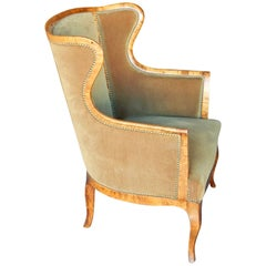Swedish Winged Back Armchair in Golden Flame Birch Wood, circa 1910