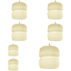 Eleven Pieces, Opaline Glass Chalice Pendant Light from Former Church, 1960s