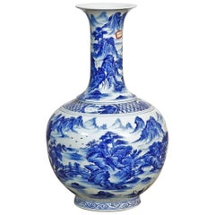 Chinese Blue and White Porcelain Jingdezhen Landscape Vase