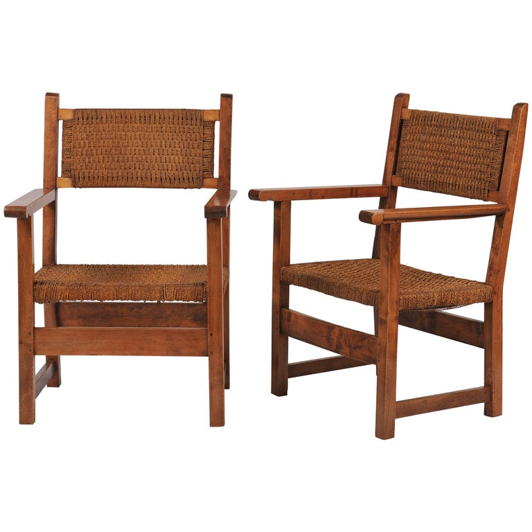 Pair of 1930s Swedish Sea Grass and Walnut Armchairs