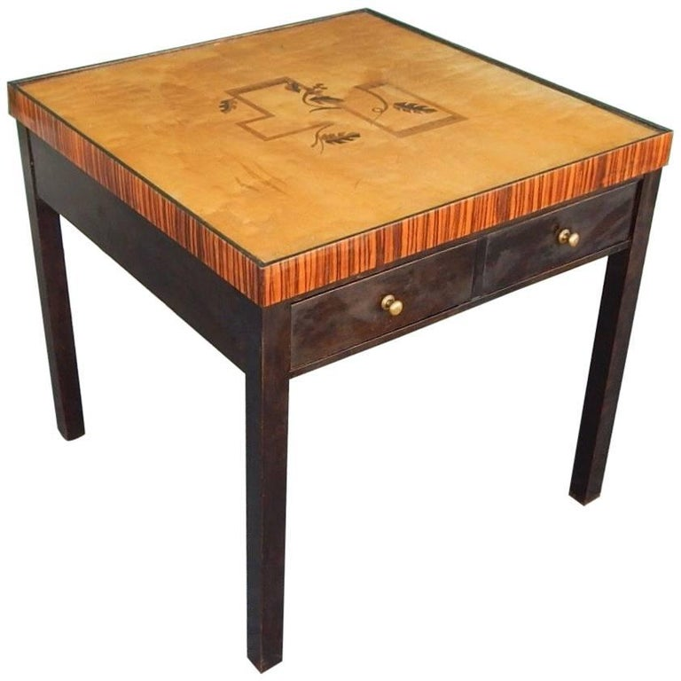 Swedish Art Deco Cubic Inlaid Side/End Table, circa 1930
