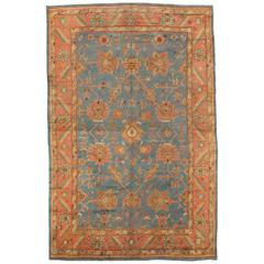 Antique Oushak Carpet, Turkish Rugs, Handmade Oriental Rugs, Light Blue, Coral