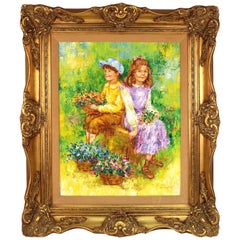 Painting Titled 'Children Holding Flowers in a Field' by Karin Schaefers