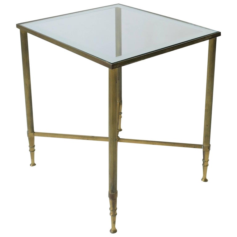 Midcentury Italian Brass and Glass Side Table in the Directoire Style