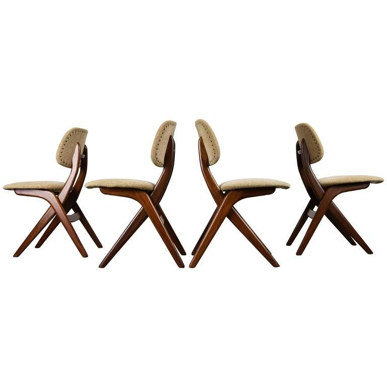 Set of Four Teak Pelican Dining Chairs, Louis Van Teeffelen for Webe 1960 Brown