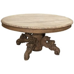 19th Century Renaissance Revival Oval Stripped Oak Coffee Table
