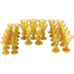 Set of Salviati Glassware with Fish Motif