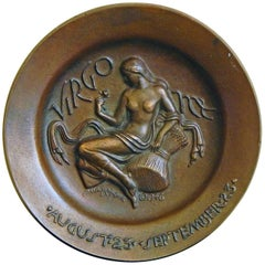 """Virgo,"" Rare, High Style Art Deco Bronze Bas Relief by Paul Manship"