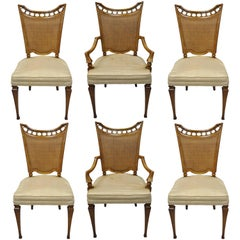 John Widdicomb Hollywood Regency French Style Cane Back Dining Chairs Set of Six