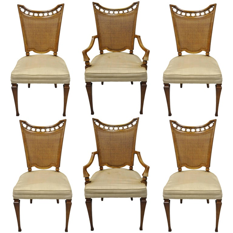 John Widdicomb Hollywood Regency French Style Cane Back Dining Chairs Set Of Six For Sale