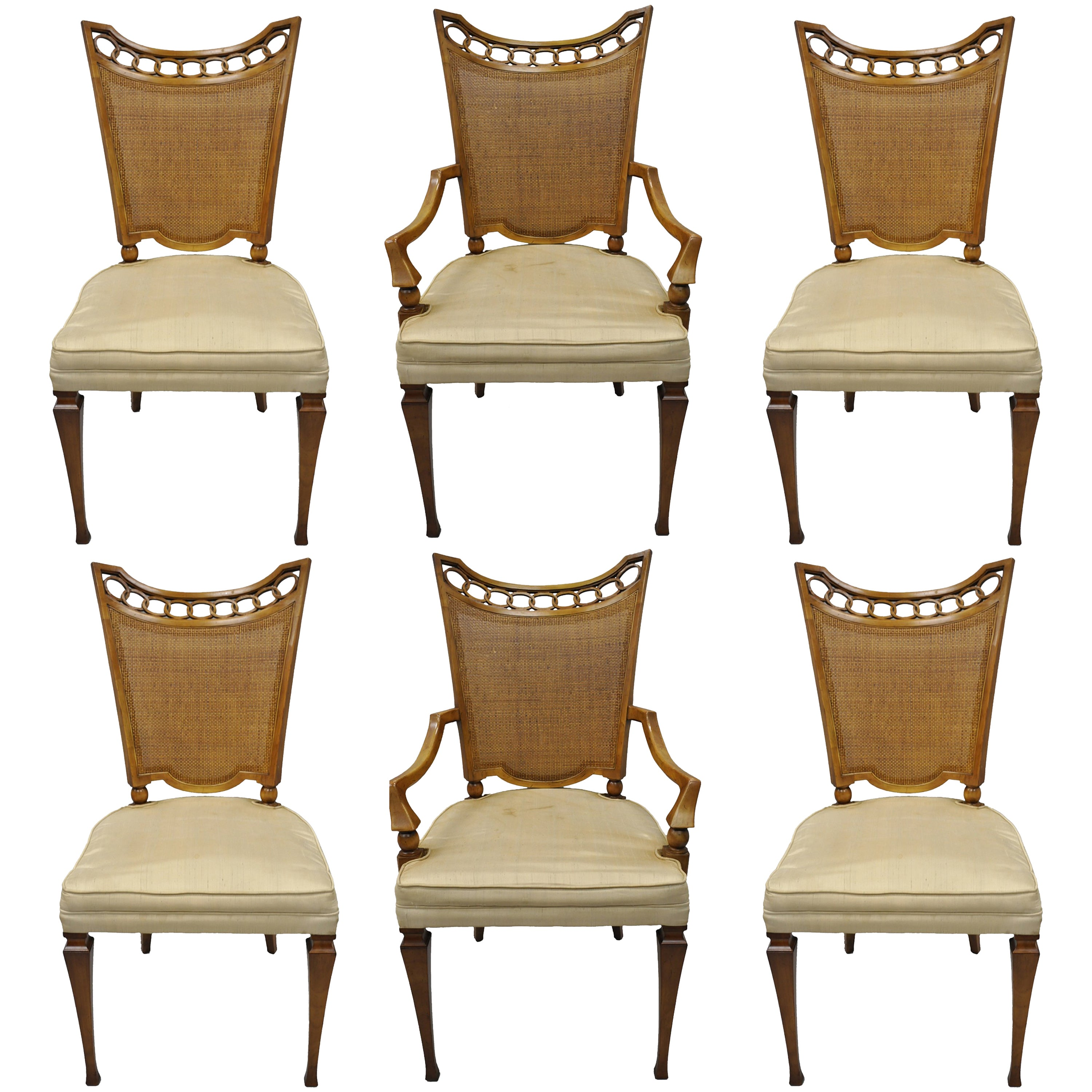 Set Of Six Hollywood Regency Style Dining Chairs In The