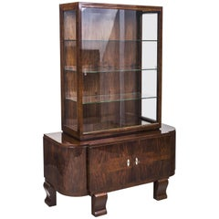 Art Deco Walnut Display Cabinet from France