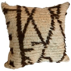 Custom Moroccan Pillow Cut from a Hand Loomed Wool Berber Azilal Rug