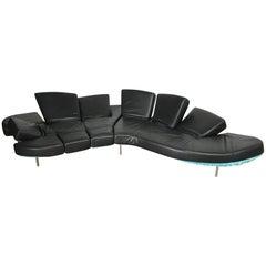 "Black Leather ""Flap"" Sofa by Francesco Binfare for Edra"