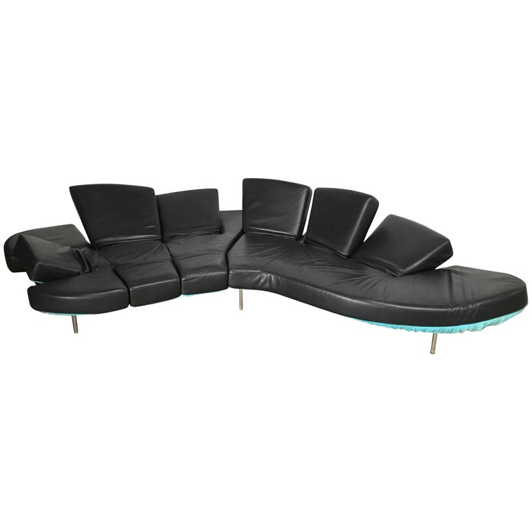 "Black Leather ""Flap"" Sofa by Francesco Binfare for Edra"