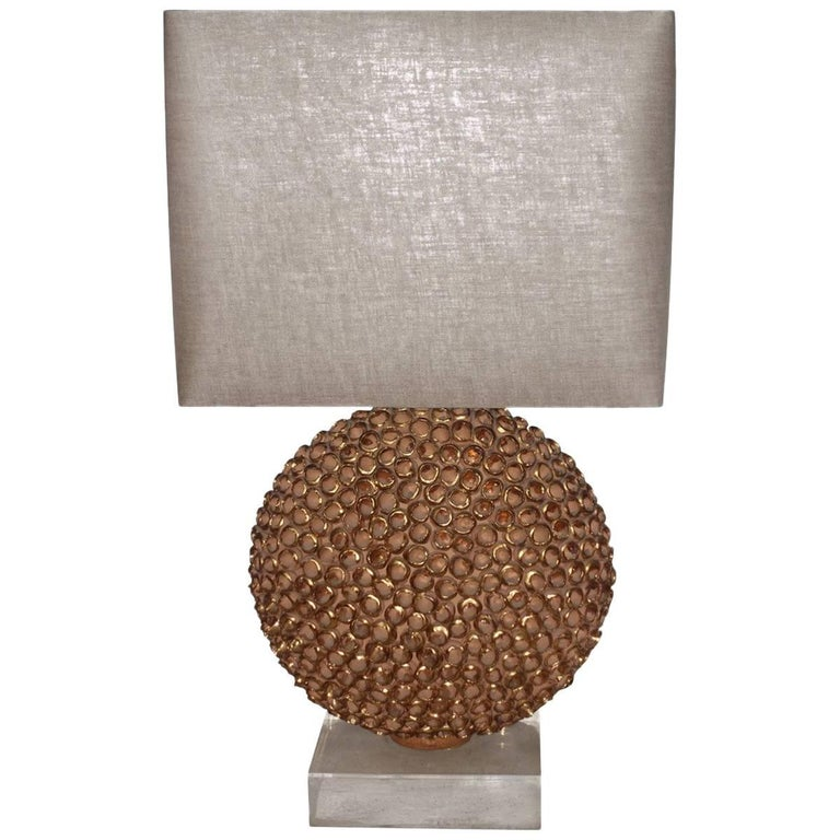 Gold Leaf Trimmed Terracotta Sphere Single Lamp, France, Contemporary For Sale