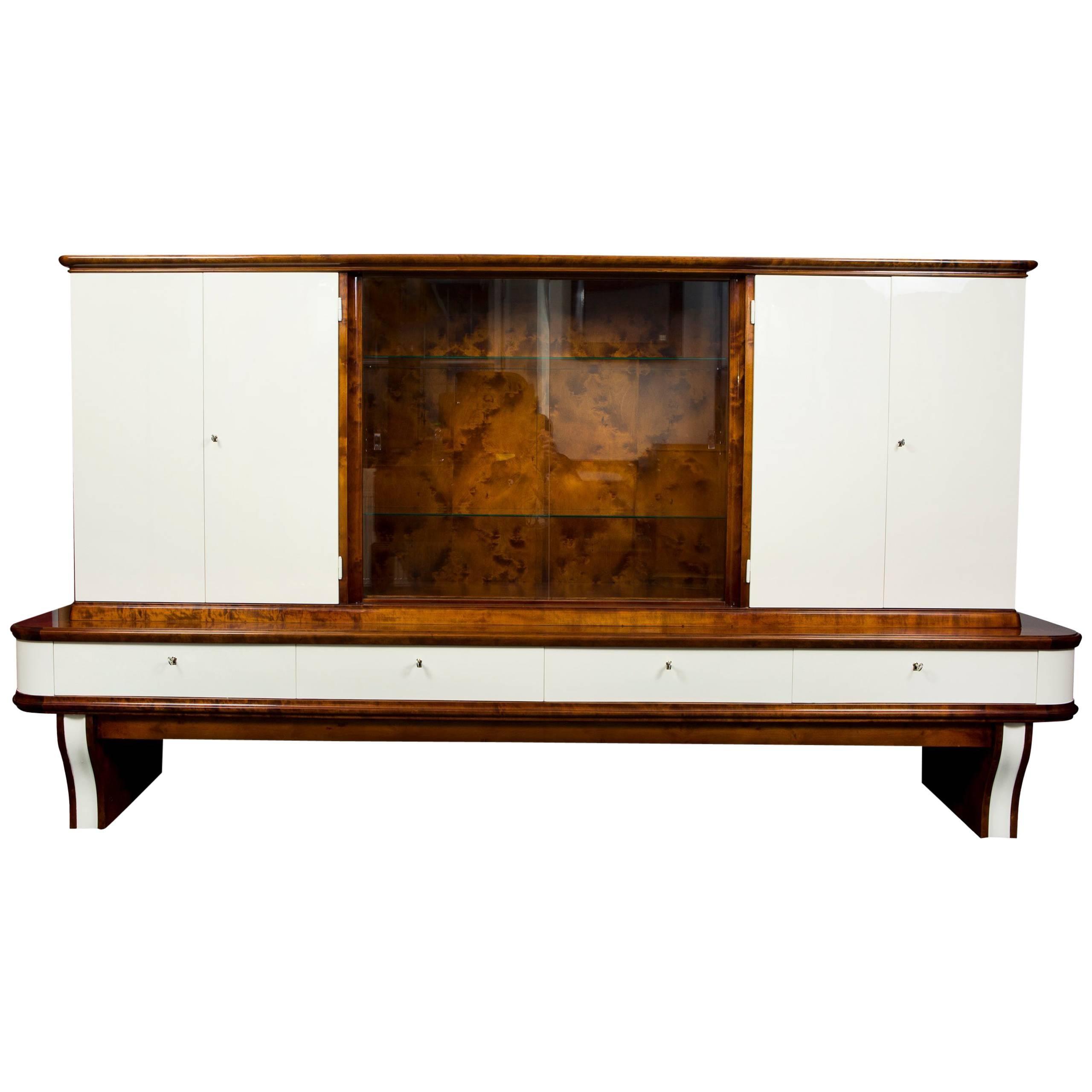 Art Deco Large Walnut Display Cabinet