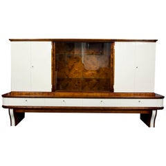 Art Deco Large Walnut Display Cabinet