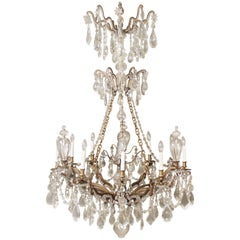 Exceptional Late 19th Century Bronze and Crystal Ten-Light Chandelier