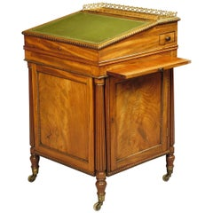 Georgian Period Mahogany Davenport Desk with Green Leather Writing Surface