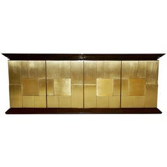 1970s Frigerio Italian Burl Walnut Sideboard with Brass Sculptural Relief Design
