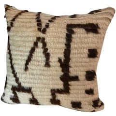 Custom Moroccan Pillow Cut from a Vintage Hand-Loomed Wool Azilal Berber Rug