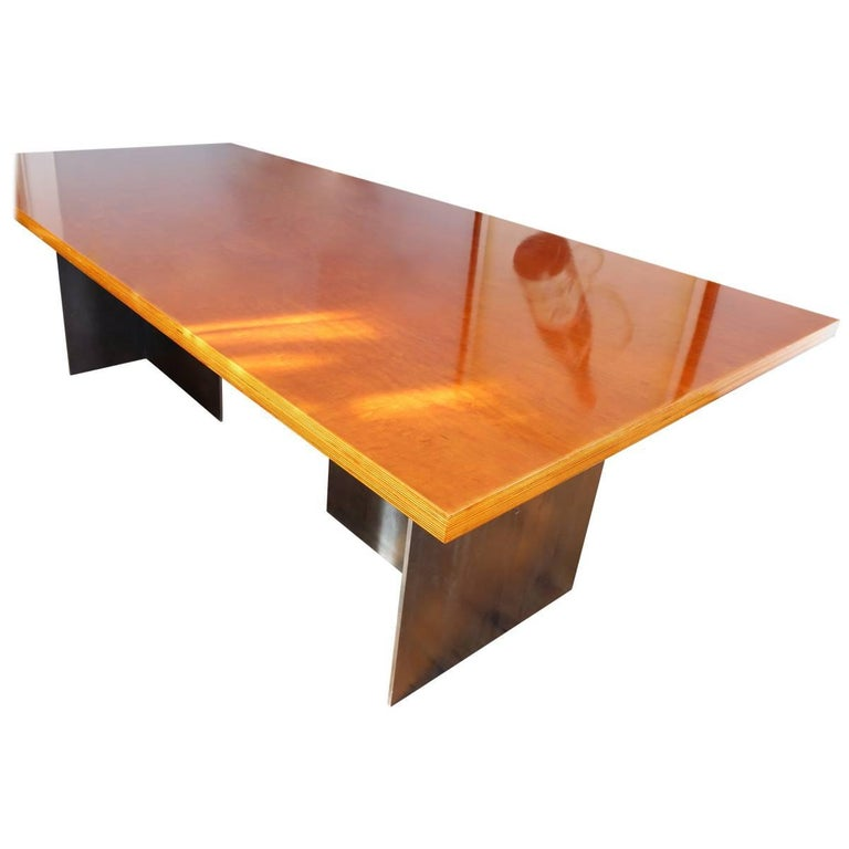 The Accidental Dining Table, an original design offered exclusively by Vermontica, is a contemporary minimalist blackened steel and birch plywood dining table designed and produced in Vermont by Scott Gordon. The 3/8