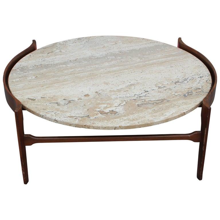Modern Bertha Schaefer Travertine and Walnut Round Coffee Table