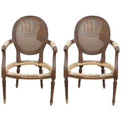 Pair of French Cane Back Stripped Lounge Chair Frames