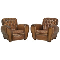 French Leather Club Chairs with Unusual Tufted Backs, Completely Original