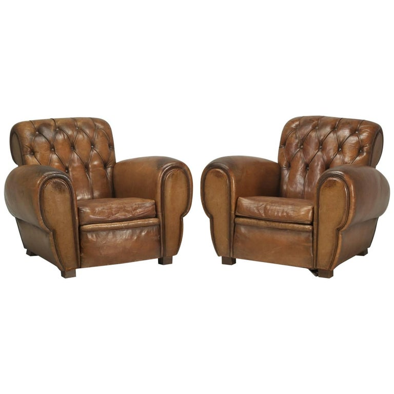 French Leather Club Chairs with Unusual Tufted Backs, Completely Original For Sale