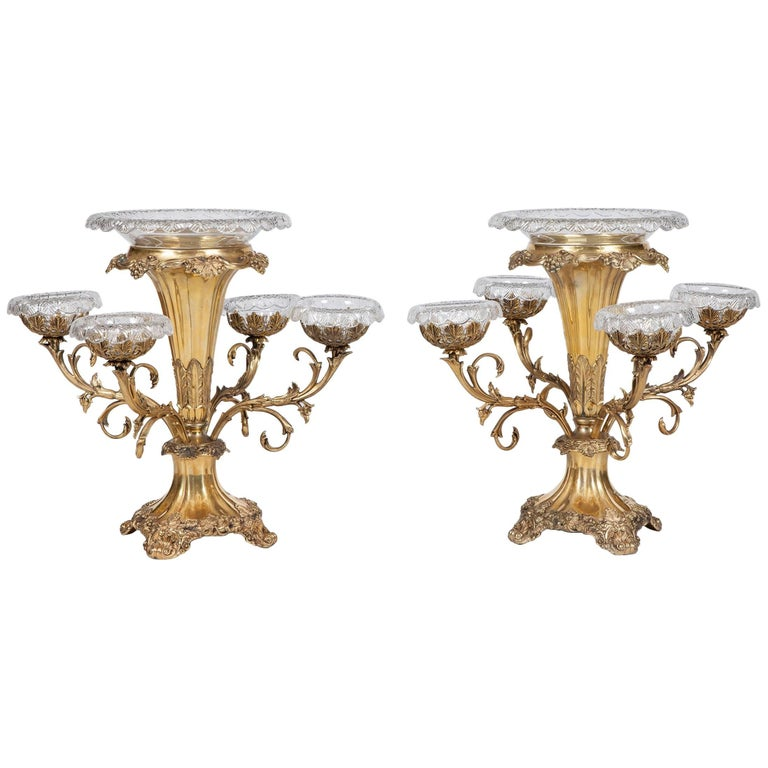 Pair of 19th Century Silver Gilt Plated Epergnes