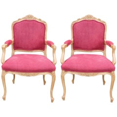 Pair of French Louis XV Lounge Chairs in Red Fabric