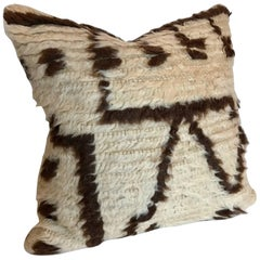 Custom Pillow Cut from a Moroccan Hand-Loomed Wool Vintage Azilal Rug