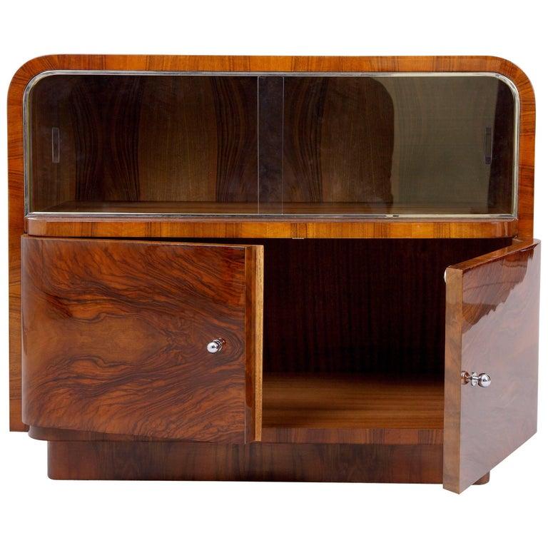 Walnut Art Deco Small Cabinet