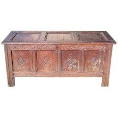 17th Century William and Mary Period Oak Antique Coffer Blanket Box