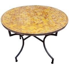 Moroccan Mosaic Table, Herrinbone Shape Pattern