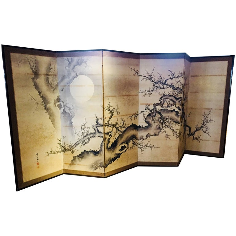 Japanese Screen Black Ivory Hand Painted Blossoms Branches Birds Six Panels For Sale